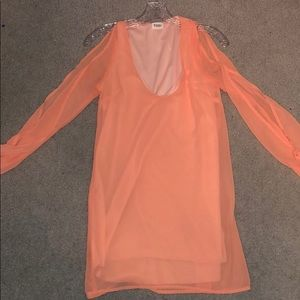Peach TOBI dress with cut out arm sleeves